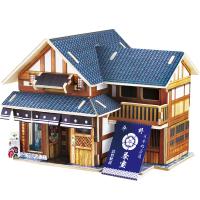 包邮若态手工DIY制作日本小屋木质立体拼图模型摆件儿童玩具创意礼物