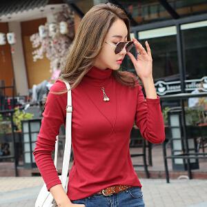 高领打底衫女秋冬韩版内搭长袖t恤修身中高领百搭紧身小衫