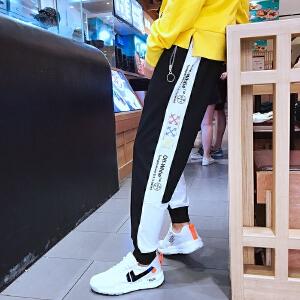 青少年港风新款修身束脚男士韩版休闲裤青年运动裤子哈伦长裤3
