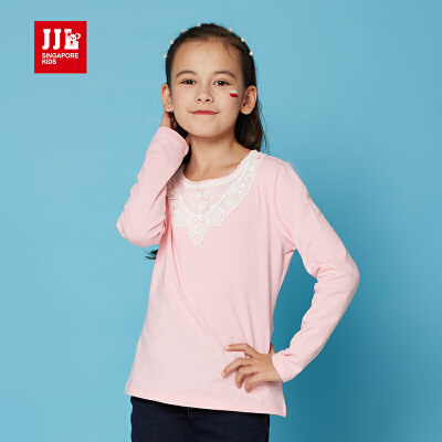 jjlkids季季乐童装女2016新款女童t恤春秋纯色甜美纯棉打底衫