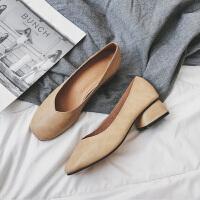 2019春季奶奶鞋粗跟单鞋女高跟鞋豆豆女鞋中跟网红温柔鞋仙女 杏色 34