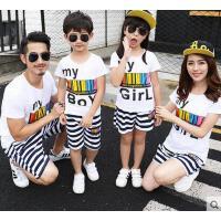 家庭装亲子装户外新款一家三口四口韩版时尚条纹短袖T恤套装休闲百搭