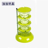 当当优品 立式可旋转4层调味盒 厨房调料盒 绿色