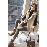 2018冬季新款韩版百搭时尚西装领羊羔毛马甲女显瘦学生宽松小个子短款毛绒背心无袖坎肩外套