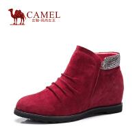 Camel骆驼女鞋 舒适简约 羊�S圆头高跟橡筋内增高保暖短靴 秋新款