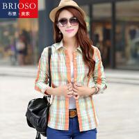 BRIOSO 女士纯棉格子衬衫 秋装新款韩版百搭时尚修身长袖衬衫 大码基础女装衬衣 WE2995