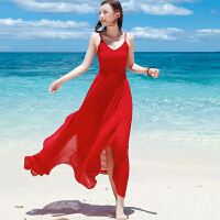 夏红色吊带长裙雪纺露背不规则连衣裙波西米亚长裙海边度假沙滩裙 红色 YZ17A061