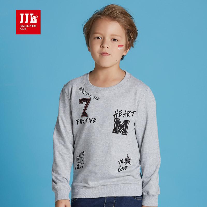 季季乐男童卫衣春秋季新款时尚圆领套头纯棉长袖上衣BQY61126专柜同款