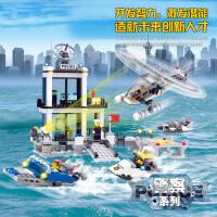 开智儿童益智积木男孩玩具水上警察局拼装积木玩具8-10-12岁6726