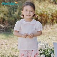 �R卡�吠��b2021年夏新品女童�H�w透�夂�蝶�Y�I口�r衫