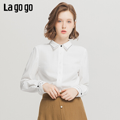 Lagogo/拉谷谷2019冬季新款纯色方领印花衬衫女ICCC419B14