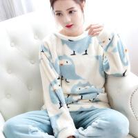秋冬睡衣女珊瑚绒加厚可爱法兰绒家居服长袖韩版学生甜美春秋套装T25
