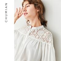初棉2018夏季新款白色蕾丝拼接雪纺衬衫女七分灯笼袖白衬衣