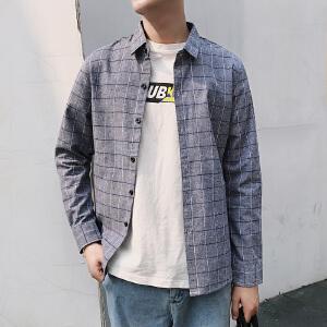 新款港风CHIC竖条纹长袖衬衫复古韩风BF上衣男女宽松休闲衬衣