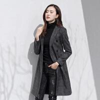 复古格子西装外套女中长款2018春秋新款修身显瘦黑色休闲女士西服 深灰色 深灰色2058