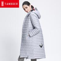 坦博尔新款轻薄羽绒服女印花单排扣韩版冬季时尚羽绒衣外套TB3650