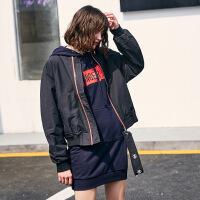 春季短款2018飞行员夹克女风印花风款棒球服外套潮6J541 黑色