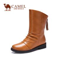 Camel骆驼女靴 休闲舒适中跟后拉链中筒靴 新款