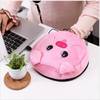 春笑牌 USB暖手鼠标垫暖手宝 发热垫 暖手宝 粉猪2506