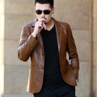 男士皮衣2017新款春秋皮衣中年男士秋季皮西装领夹克修身外套薄款爸爸装潮