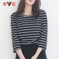 【3.25秒杀价:49】yaloo/雅鹿2019春夏新款女式时尚条纹T恤韩版修身内搭白T