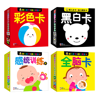 我的脑力激发卡全脑智能卡(黑白卡+彩色卡+全脑卡+感统训练)小婴孩童书0-2岁适用共4盒
