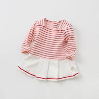 [2件3折价:39]戴维贝拉童装春季新款女童条纹T恤 宝宝裙式上衣DB9931