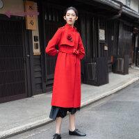 生活在左2019秋季女装新款大红色中长款毛呢双面呢大衣外套配腰带