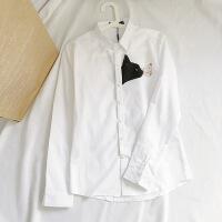 日系复古猫咪文艺小清新白衬衫男长袖修身韩版学生潮流打底衬衣潮