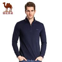 骆驼男装 春季男士时尚青年长袖立领绣花长袖T恤衫男