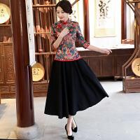 长袖复古中式旗袍上衣 改良时尚中年妈妈短款民国风唐装女装汉服 X