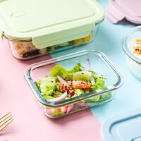 便携玻璃保鲜盒微波炉加热饭盒上班族便当盒密封带饭专用碗水果盒