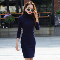 高领中长款套头连衣裙女秋季新款棉质过膝修身显瘦打底长裙