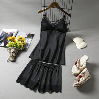 新品性感诱惑吊带睡衣女两件套有胸垫蕾丝边丝绸家居服