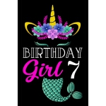 预订 Birthday Girl 7: Mermaid Unicorn Journal Girls Kids Wome