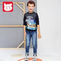 小猪班纳童装男童长袖卫衣纯棉2017男中大童上衣儿童T恤