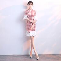 2018新款优雅时尚女旗袍格子旗袍2018新款女年轻改良版小香风现代少女时尚连