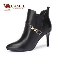 Camel/骆驼女鞋 新款通勤时尚 纳帕牛皮尖头 高跟套脚女靴