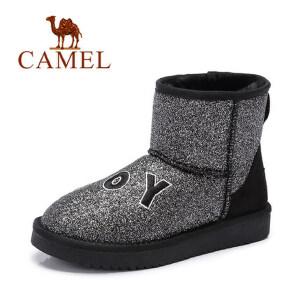 camel骆驼女鞋 新款 时尚防寒刺绣字母亮片女中筒靴雪地靴潮靴