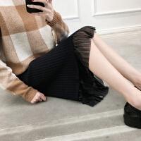 包臀半身裙女中长款雪纺下摆拼接针织衫毛线裙松紧腰过膝裙子秋冬 黑色