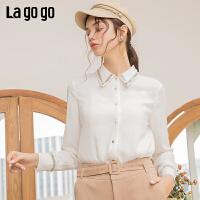 Lagogo/拉谷谷2019新款方领织带装饰单排扣衬衫女ICCC43XA02