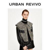 UR2020春季新品女装时尚休闲拼色格纹羊腿袖夹克WH02S1EE2002