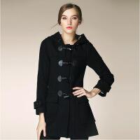 新女士外套秋冬新款女装时尚英伦风牛角扣连帽加厚羊毛大衣毛呢外套 X