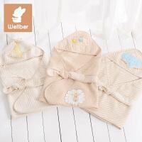 威尔贝鲁 纯棉婴儿抱被盖毯 彩棉宝宝襁褓毯子 新生儿包被包巾