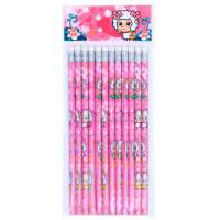 广博 XYY4608 圆杆皮头HB铅笔 粉色12支装/喜羊羊与灰太狼文具原木质小学生铅笔练字作业写字儿童涂鸦绘画迪士尼