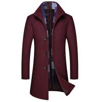 中年男士羊绒毛呢大衣中长款冬季加厚修身立领断码爸爸装外套1835