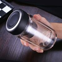 家用水杯茶叶泡茶杯双层隔热保温高硼硅玻璃杯子