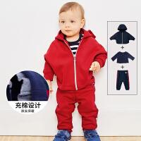 【满200减130】迷你巴拉巴拉婴儿长袖套装冬新品男女宝宝斗篷款休闲装两件套