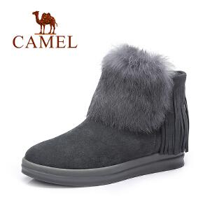 Camel/骆驼短靴 纯色时尚流苏靴保暖兔毛女靴短靴子