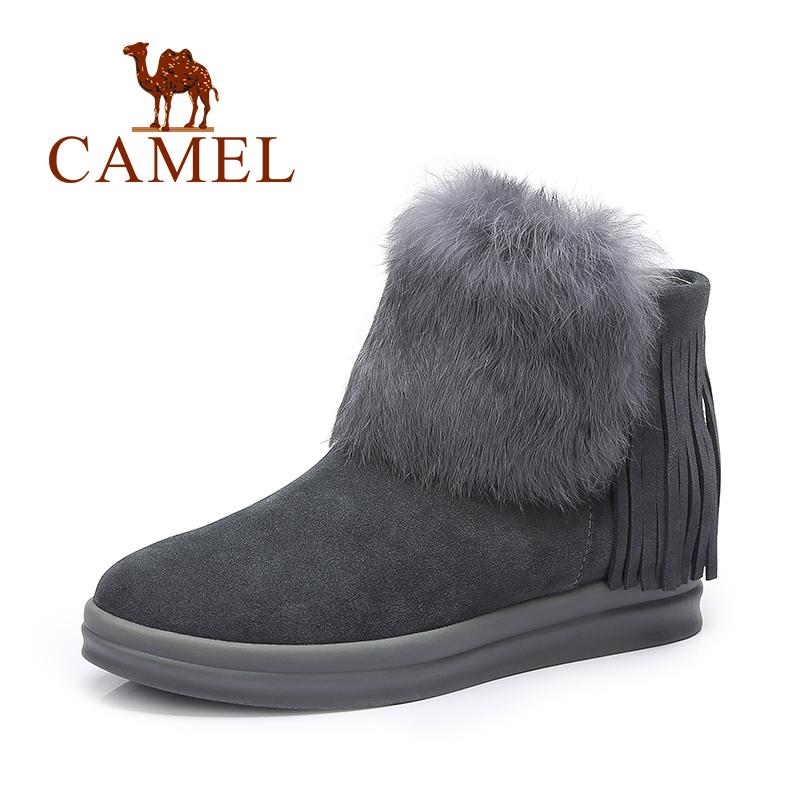 【领卷下单立减120元】Camel/骆驼短靴 纯色时尚流苏靴保暖兔毛女靴短靴子
